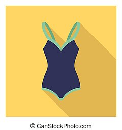 Swimsuit icon in flat style isolated on white background. Clothes symbol stock vector illustration.