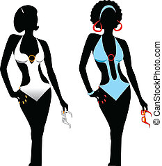 Swimsuit Monokini Silhouette - Vector illustration of two...