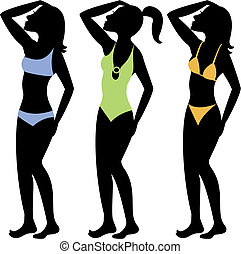 Swimsuit Silhouettes 3 - A collection of different swimsuit...