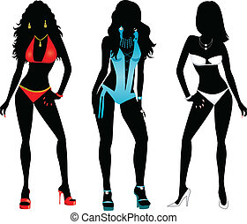 Swimsuit Silhouettes - Vector Illustration of three...
