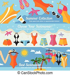 Summer beach clothing accessories and swimwear fashion collection flat color horizontal banner set isolated vector illustration