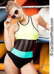 swimwear., foto, niña, moda, joven