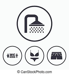 swimwear, icons., douche, piscine, signs., natation