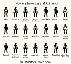 swimwear., kvinder, badedragter