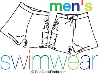 swimwear., vetorial, homens, ilustração
