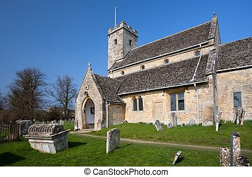 swinbrook, cotswold, iglesia