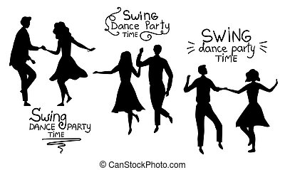 Swind Dance Party Time Concept. Black Silhouettes Of Young Couples are Dancing Swing, Rock and Roll or Lindy Hop. Flat Style. Vector Illustration