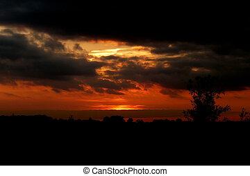 swindon, coucher soleil