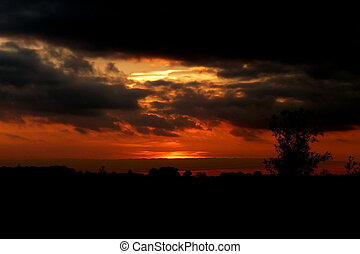 Swindon Sunset - The setting sun over a landscape in Swindon
