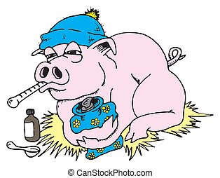 Swine Flu 02 - Illustration of pig with Swine Flu.