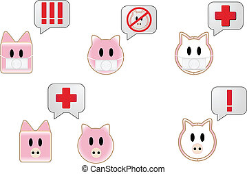Swine flu with bubbles showing different attention symbols