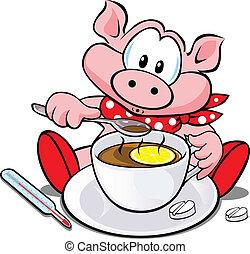 swine flu cartoon  - pig with cup of tea
