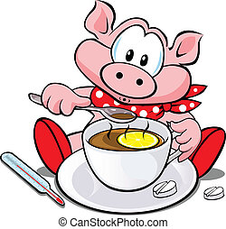 swine flu cartoon  - pig with cup of tea