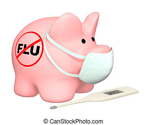 Swine flu - Conceptual image - stop of a swine flu