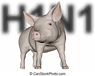 Swine Flu. - Digitally created word H1N1 behind a rendered...