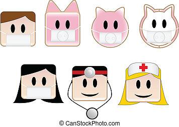 Swine Flu - Icons illustrating swine flu patients and...