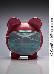 Swine flu toy pig H1N1 wearing protective mask
