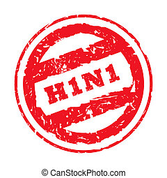 Used red swine flu stamp with H1N1 virus, isolated on white background.