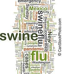 Swine flu wordcloud - Word cloud concept illustration of...