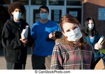 swine, influensa, hos, skola