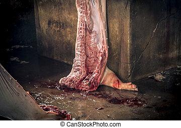 Swine slaughterhouse uses hot water for swine breeding in ...