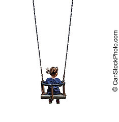 swing and kid isolated in whte background playin