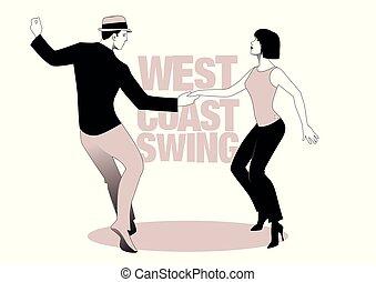 swing., ballo, stile, costa, ovest, coppia, giovane