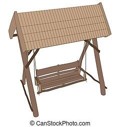 Swing bench vector garden furniture park outdoor porch isolated