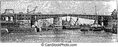 Swing Bridge Brest, vintage engraving.