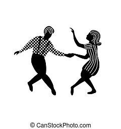 Swing dance couple of people