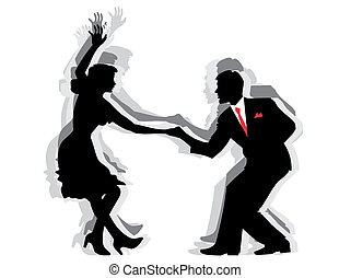 Swing Dance Couple - Silhouette illustration of a couple...