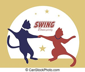 Swing dance couple silhouette of cats