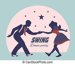 Swing dance couple silhouette