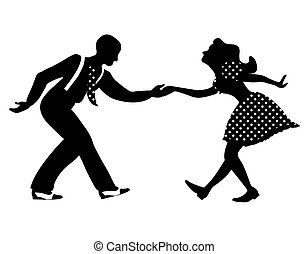 Swing dance negative couple silhouette. Black and white colors. 1940s and 1930s style. Woman in dress with dots and man with suspenders and tie.