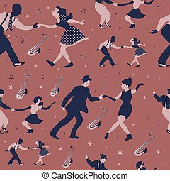 Swing dance seamless pattern on brown background
