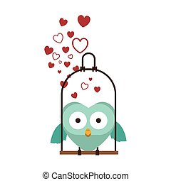 swing decorate with hearts and owl standing