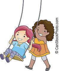 Swing Friends - Illustration of a Little Girl Pushing Her...