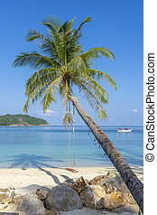 Swing hang from coconut palm tree over sand beach near blue sea water in Thailand. Summer, travel, vacation and holiday concept