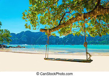 Swing hang from coconut tree over beach, Thailand
