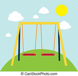 Swing park - swing on a park over white background vector...