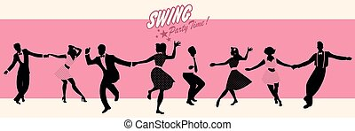 Swing Party Time: Silhouettes of four young couples wearing ...