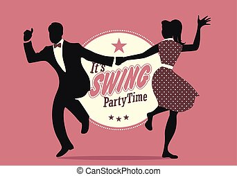 Swing Party Time: Silhouettes of young couple wearing retro ...