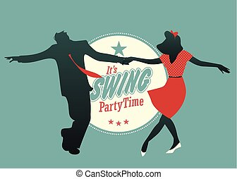 Swing Party Time: Young couple silhouette dancing swing, rock or lindy hop