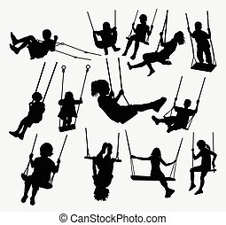 Swing people silhouette - swing children male and female...