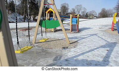 swing playground winter - double yellow swing with rubber...