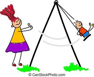 swing - little kid being pushed on the swing by mum -...