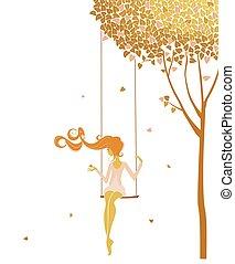 Swing - Lonely girl on a swing
