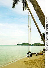 Swing with tree on the beach