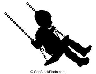 Swinging child - Vector illustration of swinging child...