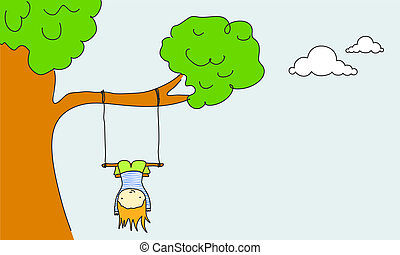 Swinging - Cute kid swinging.